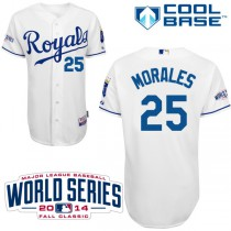 Youth Majestic Kansas City Royals #25 Kendrys Morales Replica Home W_2014 World Series Cool Base MLB Jersey