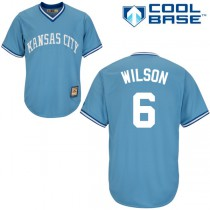 Youth Majestic Kansas City Royals #6 Willie Wilson Replica Road Cooperstown Cool Base MLB Jersey